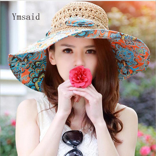 wholesale Summer Large Brim Beach Sun Hats Women UV Protection Women Caps With Big Head Foldable Style Fashion Lady's Straw hat