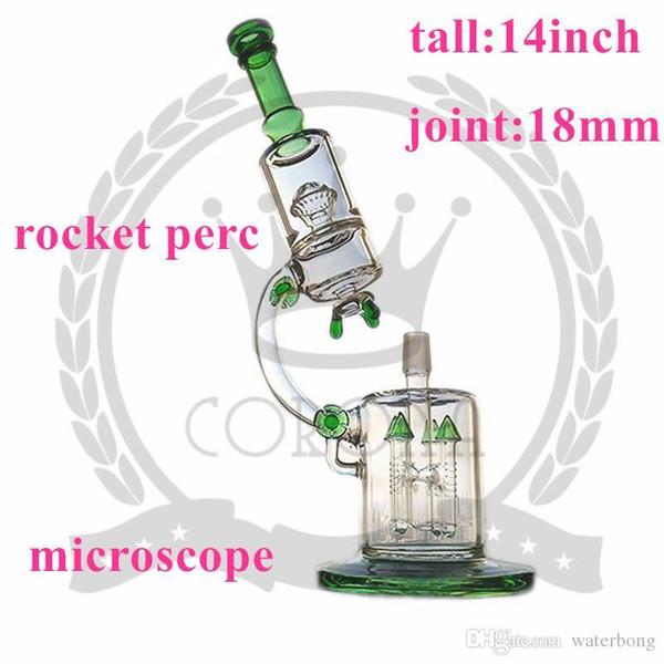 Микроскоп Бонг цехов вода Трубная Красочная 4 Части Твердой Luminous Glow цвета кремний Downstem стекли Чашу затяжки Трубы Smoke