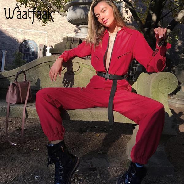 Waatfaak Cargo Red Jumpsuit Women Long Pants Long Sleeve Pocket Streetwear Sexy Jumpsuit Zipper Up Turtleneck Patchwork Romper Y19071701