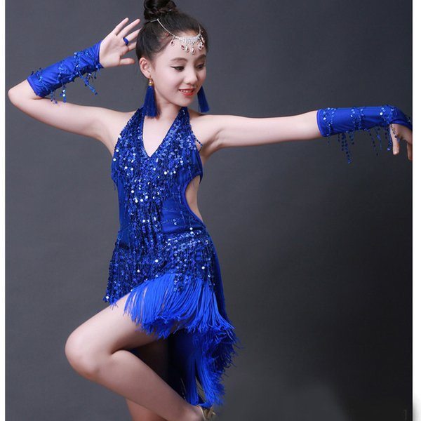 Chicas trajes de baile latino disfraces infantiles borla lentejuelas ropa de competencia ropa de baile latino ropa de rendimiento