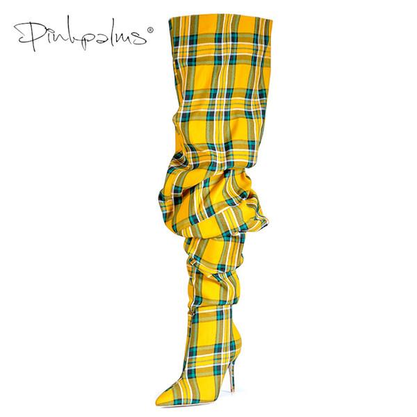 Edición limitada Rosa Palmas Zapatos Mujer Botas plisadas en Sexy Botas sobre las rodillas de invierno Mujer Tacones altos Botas para mujer a cuadros