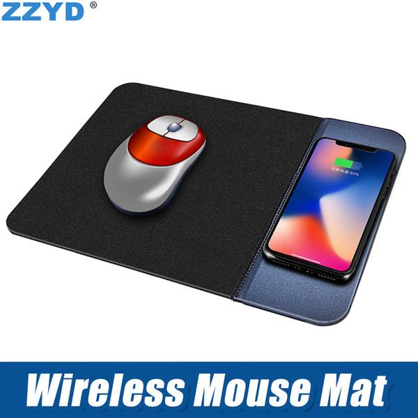 ZZYD para iPhoneXS max X Cargador de ratón inalámbrico 5V 1A QI Teléfono móvil Cargador inalámbrico PU Mousepad