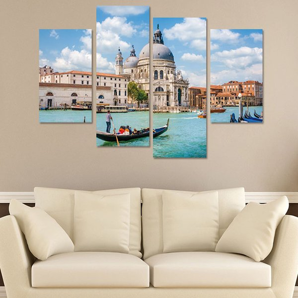 4pcs/set 3D Water City Venice Landscape Combination Wall Stickers Home Decor Living Room Bedroom Poster Self-adhesive Art Mural
