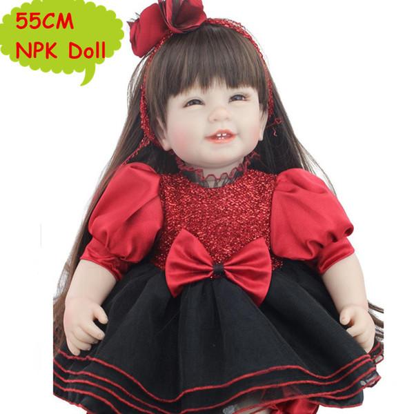 NPK 55 CM Precioso Silicona Reborn Toddler Doll Cabello Largo Dulce Baby Girl Doll En Moda Negro Vestido Rojo Para Niñas Mejor Regalo juguetes