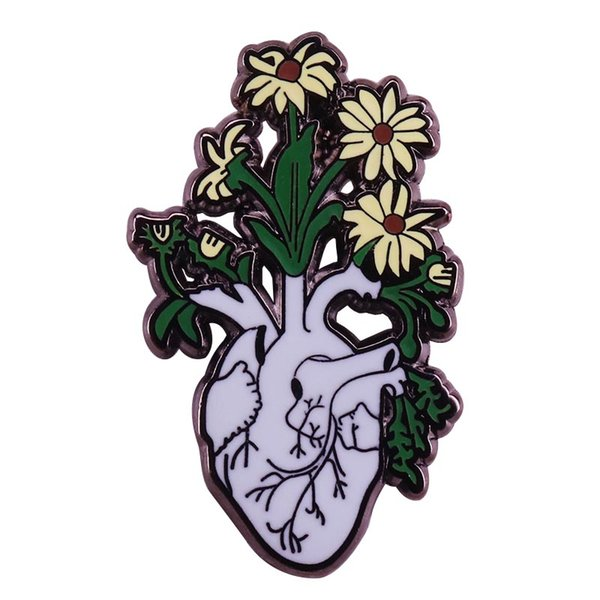 Anatomical heart and flowers brooch romantic positive pins weird Goth art badge trendy gift ideas