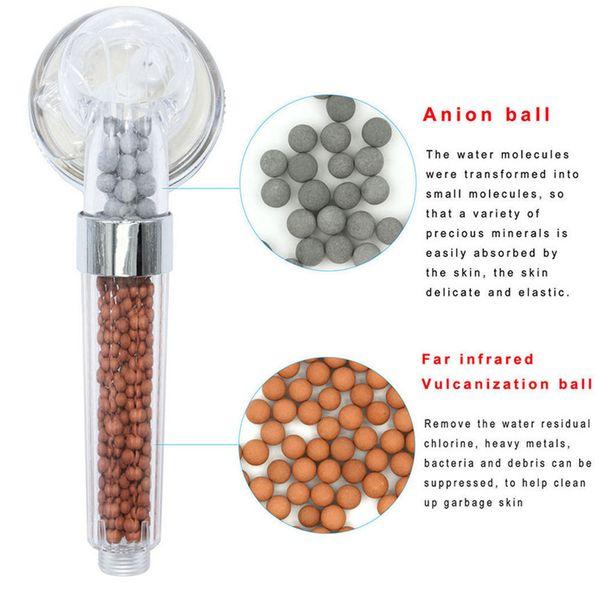 Stainless Bath Shower Head High Pressure Boosting Water Saving Filter Ball Beads