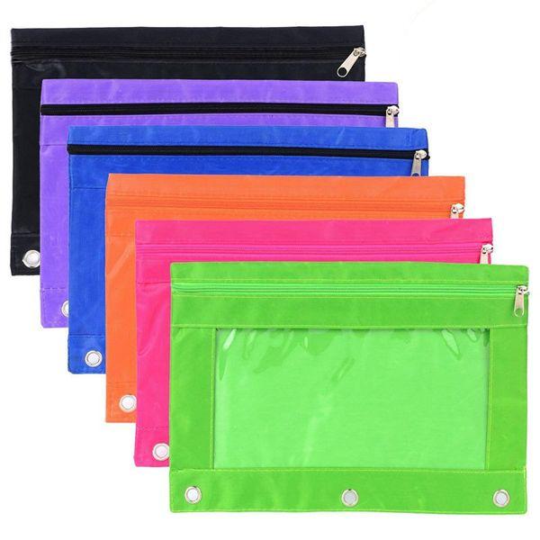 6 Piezas Carpeta de anillas de la bolsa lápiz bolsa con los agujeros 3-Ring cremallera bolsas con la ventana clara (6 colores)
