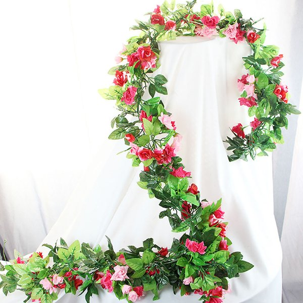 Hanging Hotel Rose Craft Party Decorative Art Plants Wedding Garden Office Vine Fake Artificial Flower Rattan Home