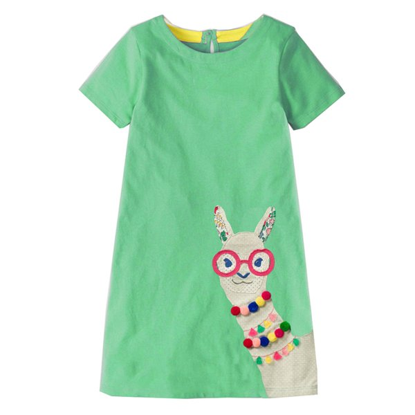 Baby Girls Dress with Animal Applique 2019 Summer Princess Dress for Girls Clothes Cotton Kids Costumes for Children Dress 2-7Y