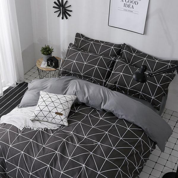 Black Rectangle Pattern Home Textile Bedding Sets Children'S Beddingset Bed Linen Duvet Cover Bed Sheet Pillowcase/Bed Sets