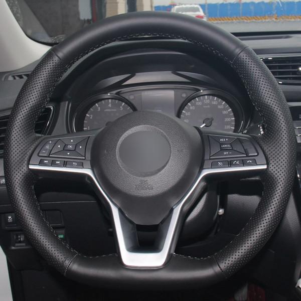 Couvre volant de voiture en cuir synthétique noir pour Nissan X-Trail 2017