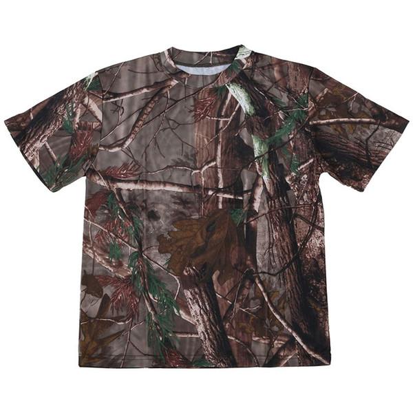 Caça New Outdoor T-shirt Camuflagem Homens T Shirt respirável Combate seco Esporte Camo acampamento Tees-Tree camuflagem S