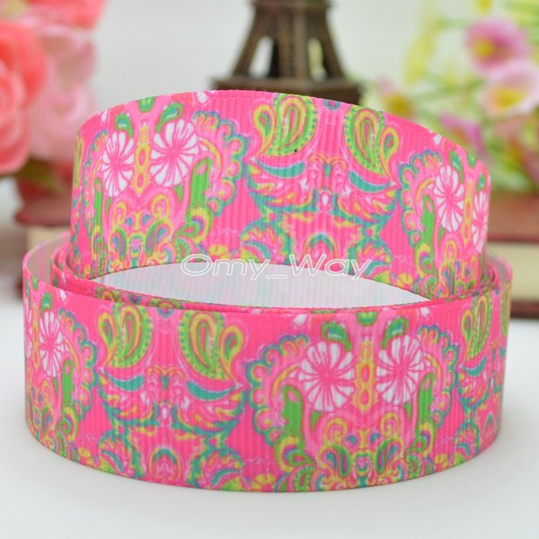 "Lilly Ribbons 7/8"" 22mm Flowers Printed Grosgrain Ribbon Hair Bow DIY Handmade Crafts Gift Ribbon Print 50Yards C-2430"