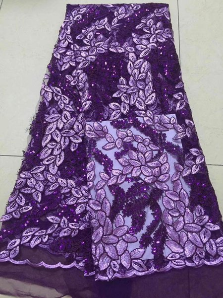 Latest African Laces Fabrics Embroidered High Quality French Lace Sequin Fabric Cheap Nigerian Net tulle Lace Fabric
