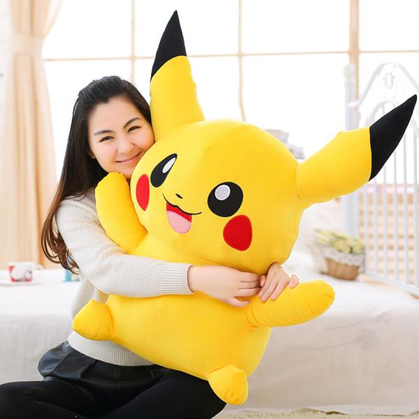 Aeruiy Cute Soft Plush Cartoon Anime amarillo riendo Pikachu muñeca de juguete, regalo de cumpleaños creativo de graduación para niños y amante SH190913