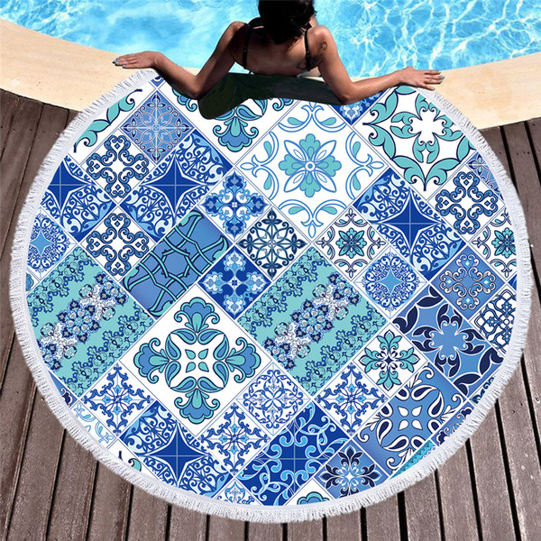 1 Pcs Mosaic Round Beach Towel for Adults Microfiber Blue and White Large Summer Towel Toalla Floral 150cm Picnic Mat
