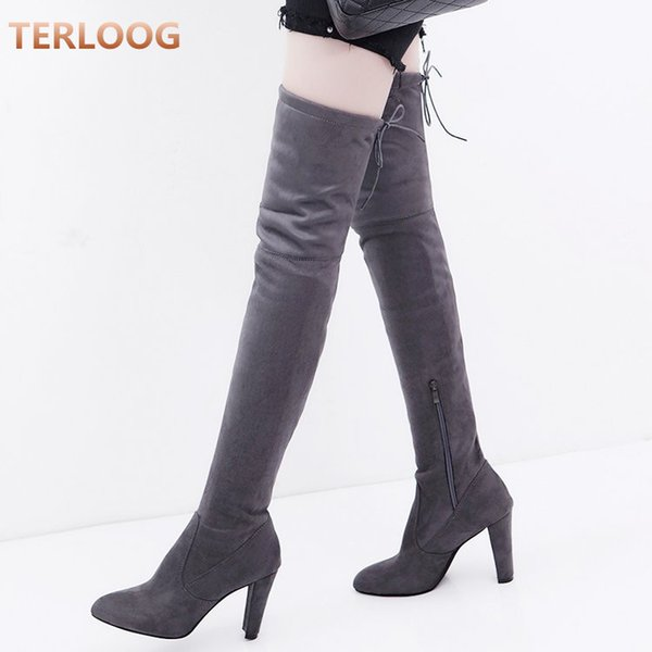 New Flock Leather Women Over The Knee Boots Lace Up Sexy High Heels Autumn Women Shoes Winter warm Boots Size 34-43 X729
