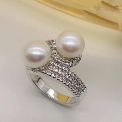 2019 Wholesale Handmade Luxury Jewelry 925 Sterling Silver Double Pearl Pave Cubic Zirconia CZ Diamond Party Wedding Ring For Women Gift