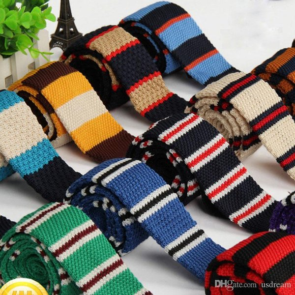Fashion Knitted Stripe Square Flat End Tie Necktie Bowties Skinny Knit Ties Fashion Fashion Accessories for Women Men DROP SHIP 2100402