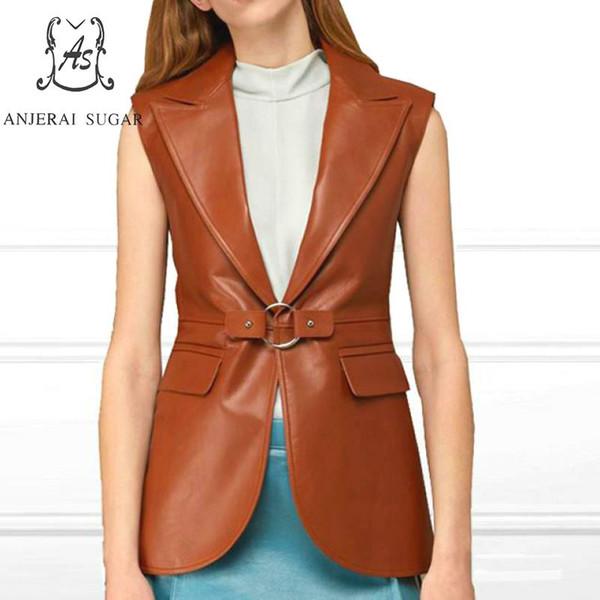 Veste en peau de mouton en cuir véritable femmes manteau femme OL Office col rabattu costume Vest marron sexy vestes en cuir sans manches