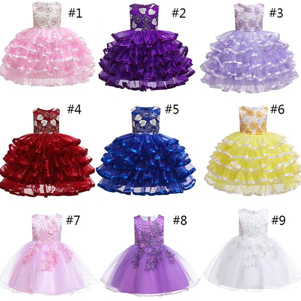 22 Style Enfant Princesse D'été Robes De Mariage Sans Manches Col Rond Robe De Soirée Effectuant De Magnifiques Costumes Pour Fille cadeau AA19101