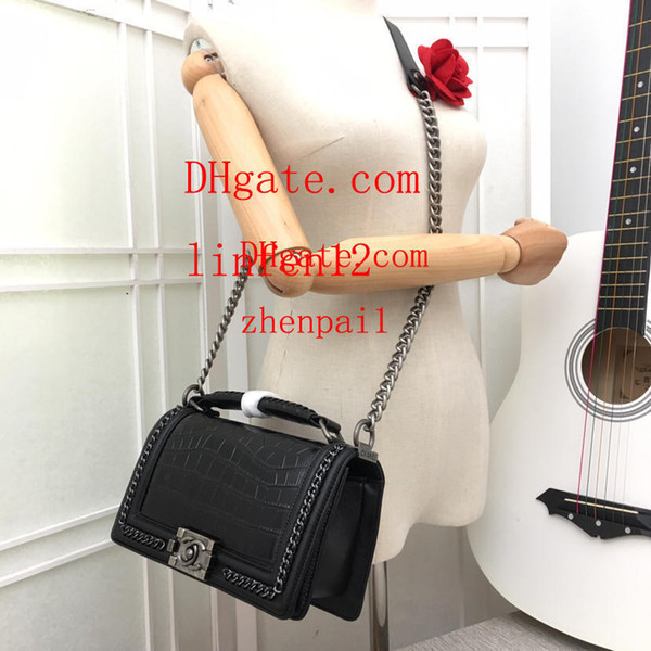 2019 high quality ladies handbag clutch Black snakeskin leather mini shoulder bag chain Fashion women's small crossbody bag