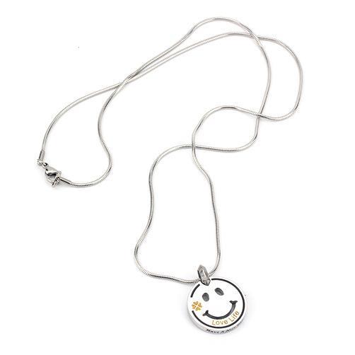 Lächeln Anhänger Halsketten Mit Liebesleben Worten und einen schönen Tag wünscht Hip-Hop-Schmuck in 65cm Für Mann oder Frau Mode HAPPY Gift 316L