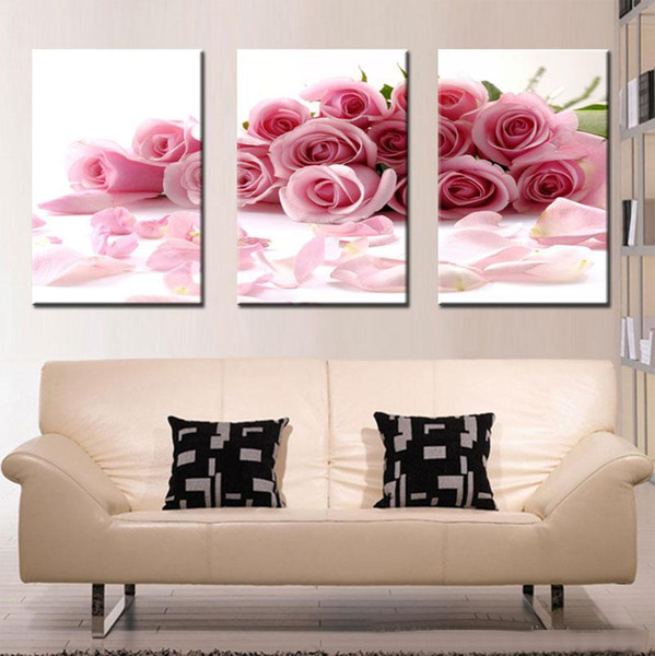 3 pieces high-definition print Rose canvas painting poster and wall art living room picture PF3-025