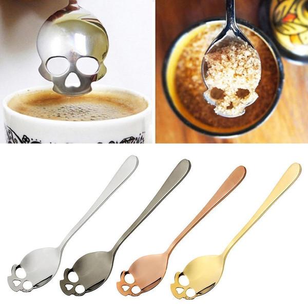 Açúcar Crânio Colher De Chá Chupar Colheres De Café Inoxidável Sobremesa Colher Sorvete Talheres Colher Acessórios de Cozinha