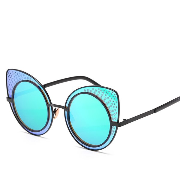 Women Luxury Sunglasses Uv Protection Full Frame Retro Glasses Popular Cat Eye Sunglasses Good Quality Shiny Round Eyewear