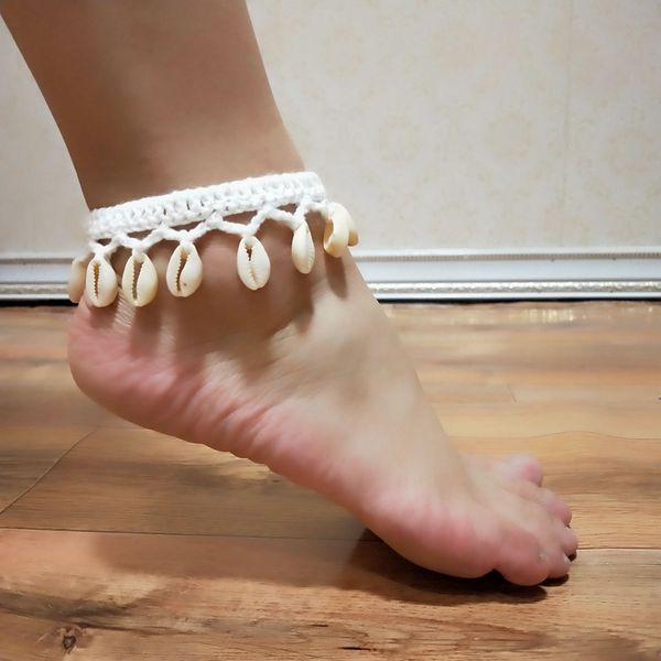 2019 New Crochet Barefoot Sandals Seashell Anklet For Women Yoga Shoes Summer Beach Barefoot Bracelet Ankle On Leg strap Bohemia