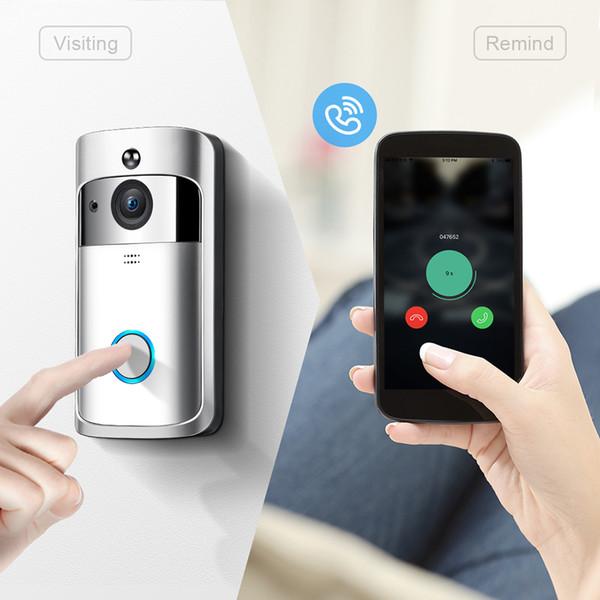 Smart Wireless WiFi Sonnette vidéo 720P Caméra de sécurité HD avec deux voies de conversation vidéo PIR détection de mouvement de vision nocturne pour iOS Google Android