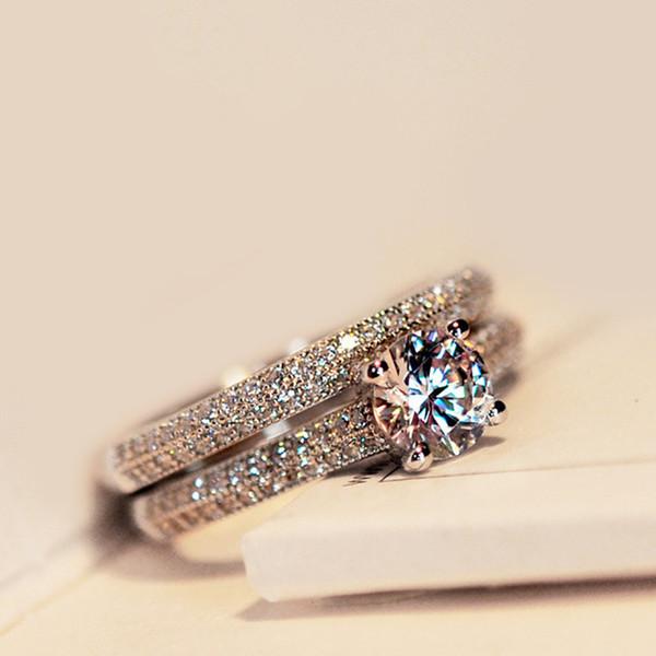 2pcs / л набор Bamos Роскошный Женский Белый Свадебное кольцо Установить Мода 925 Silver Заполненные ювелирные изделия Promise CZ камень обручальные кольца для женщин
