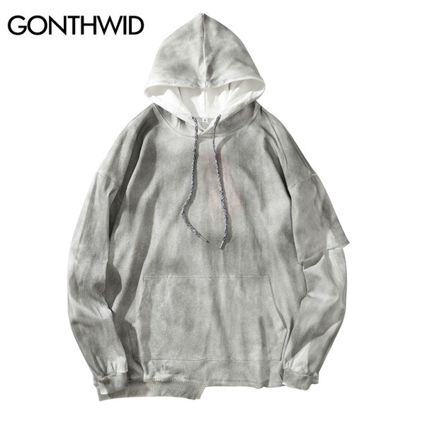 GONTHWID Harajuku Distressed Tie Dye Irregular Hooded Sweatshirts Hoodies Streetwear Hip Hop Casual Punk Rock Pullover Tops Mens