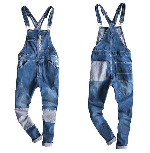 Japanese Style Mens Retro Moto Biker Denim Overalls Male Slim Fit Strap Jeans Men Suspender Trouser One Piece Jumpsuit Pockets