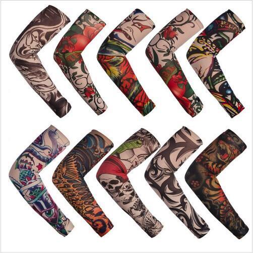 Manicotto del tatuaggio Outdoor Cycling Body Sleeve Manicotto Anti-UV Protezione solare Pesca Driving Tattoo Arm Calze senza cuciture Guanti manica elastica B5243