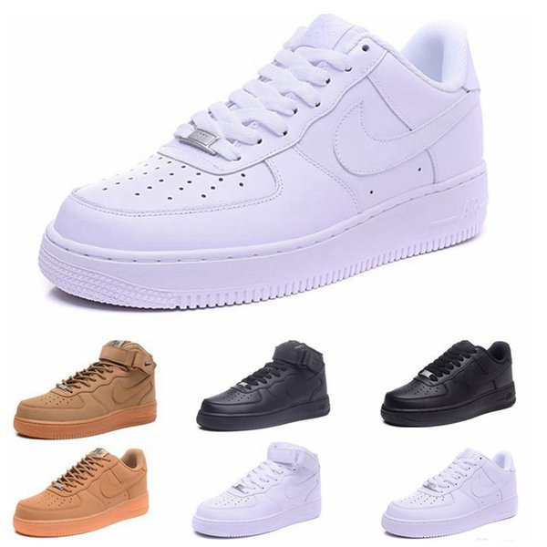 top popular 2019 hot sale New forced Classical All White black high cut men & women Sports sneakers casual Shoes Forceing one running Shoes size 36-45 2020