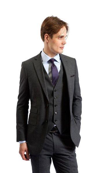 Smoking grigio scuro Smoking dello sposo Notch bavero Groomsmen Abito da sposa uomo Giacca uomo moda Blazer Suit 3 pezzi (giacca + pantaloni + vest + cravatta) 1421