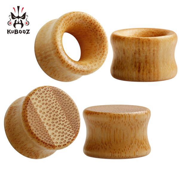 Kubooz piercing pendientes de madera de bambú tapones para los oídos túneles del cuerpo de la joyería expansor de orejas al por mayor pendientes