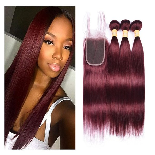 8A Brazilian Virgin Hair 99j Burgundy Straight Human Hair Weaves 3 Bundles with Lace Closure 4x4 Free Part Red Wine Color Hair Products