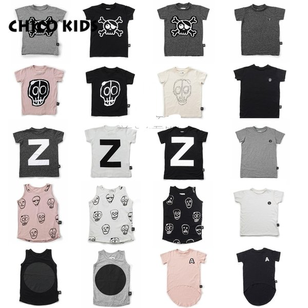 2018 Kids Z Letter Skull T Shirts, Children Short Sleeve T Shirts Tops, Kids New Summer Clothes T Shirts Stocked Y19051003