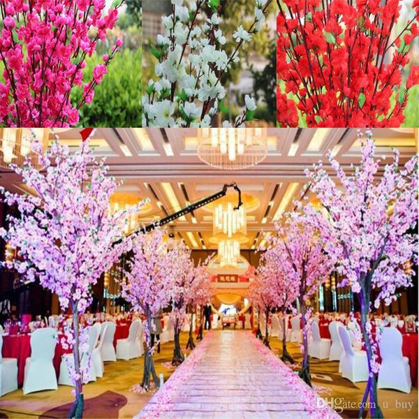 160Pcs Artificial Cherry Spring Plum Peach Blossom Branch Silk Flower Tree For Wedding Party Decoration white red yellow pink 5 color