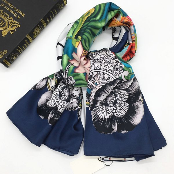 Brand design women's fashion square scarf 100% twill silk material good quality print elephant lotus pattern size 130cm - 130cm