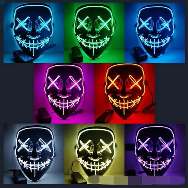 10 Colors EL Wire Ghost Mask Slit Mouth Light Up Glowing LED Mask Halloween Cosplay Glowing LED Mask Party Masks CCA10290 30pcs p