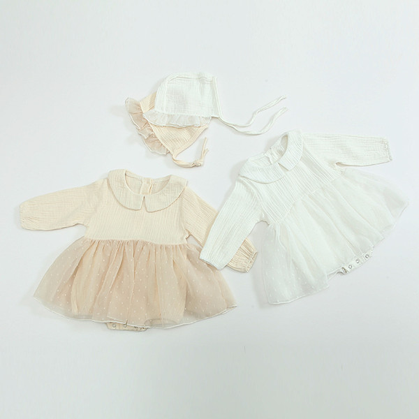 2019 New Baby Girls Autumn Outfits Doll Collar Long Sleeve Infant Tulle Romper + Lace Hat 2pcs Suits Newborn Cotton Clothing Sets Y1991