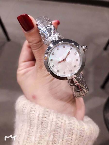 Donna Orologi regalo di festival 33mm d'argento del quarzo dell'acciaio inossidabile bracklet Ladies Watch quadrante bianco diamante ore Marcatori quadrante in madreperla