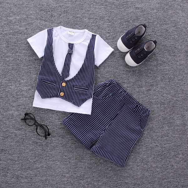 good quality Summer Baby Clothes Set Boys Clothing Set Lattice Tops+ Shorts 2pcs Tracksuit Kids Clothes Children Clothing