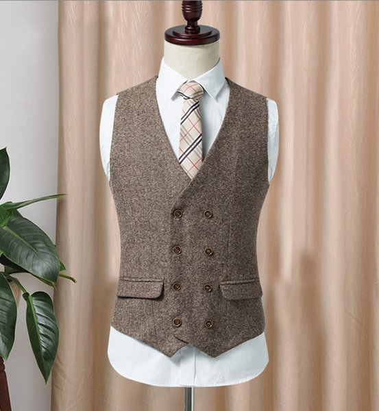 2019 Double-breasted Tweed Vest Wool Herringbone Groom Vests Pockets Men's Suit Vests Slim Fit Men's Dress Vest Wedding Waistcoat
