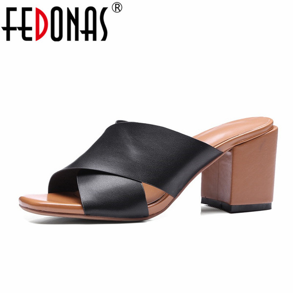 FEDONAS New Summer Woman Sexy Thick High Heels Shoes Fashion Lady Elegant Slippers Shoes Woman Casual Sandals Beige Black