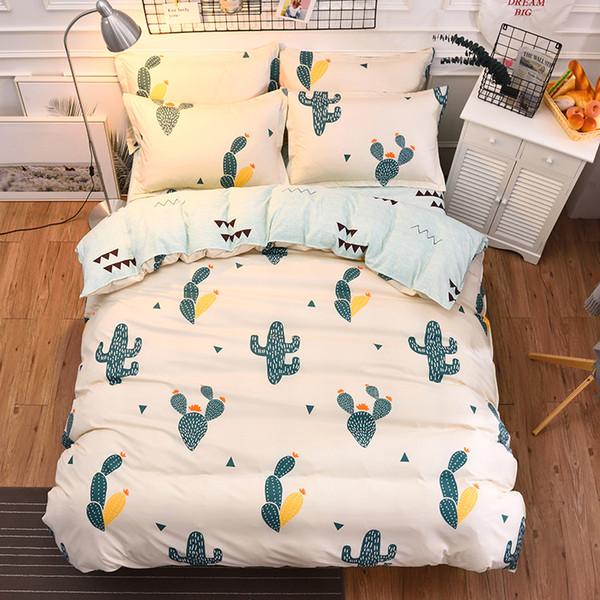 Green Cactus Bedding Set Beauty Plant Bed Sheet Pillowcase Twin Full Queen King Size Bedclothes Duvet Cover Set 4pcs Bed Linen